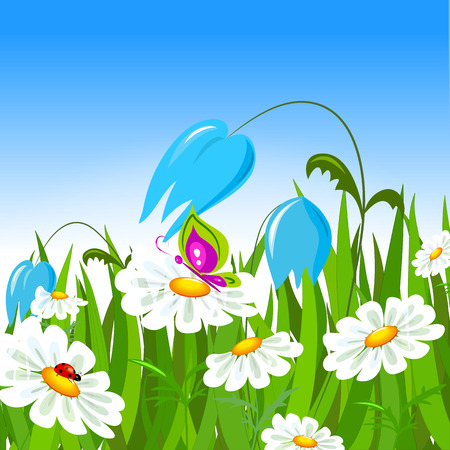 Green grass and colorful spring flowers. Vector