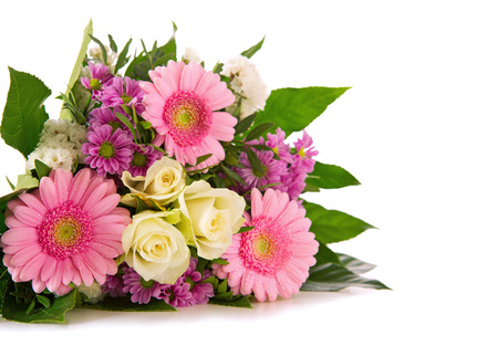 Colorful fresh flowers bouquet isolated on white background .Mother 版權商用圖片