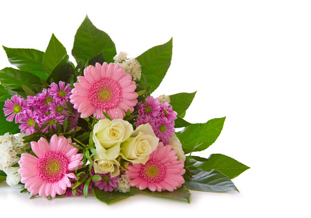 Colorful fresh flowers bouquet isolated on white background .