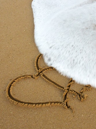 wedding beach: Two Love Hearts on Sand.Two hearts drawn in the sand at the beach.