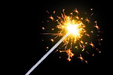 sparklet: Sparking Bengal fires on black background close-up. Stock Photo