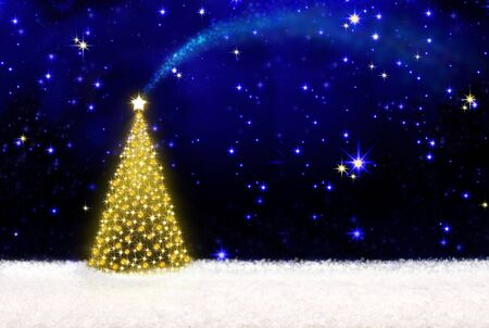 snow background: Beautifully decorated Christmas tree with golden lights and white snow.Christmas background.Christmas tree and starry sky background.