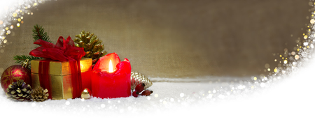 'christmas ball': Red candle ,gift box ,Christmas ball and  decoration.Christmas decoration and white snow. Stock Photo