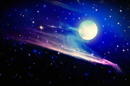sky: Stars in the night sky,blue background.Galaxy stars. Abstract space background. Full moon and star sky.