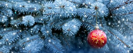 Beautiful Christmas balls on fir branches covered with snow. Christmas Background and snow. 版權商用圖片