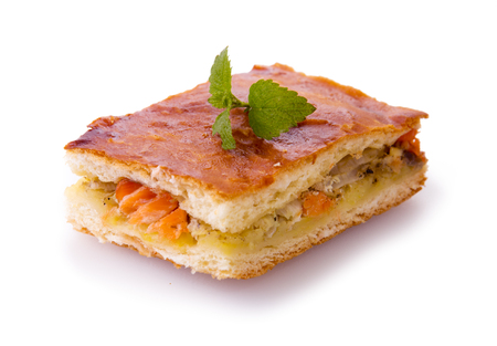 fresh food fish cake: Freshly baked salmon pie .Cake with salmon and potato filling isolated.