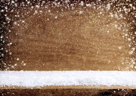 xmas background: White snow and wood space. Old wood texture with snow flakes.