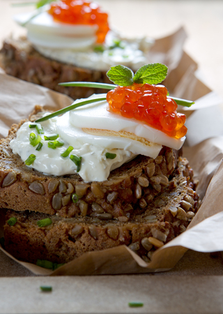 Red caviar with wholemeal bread.