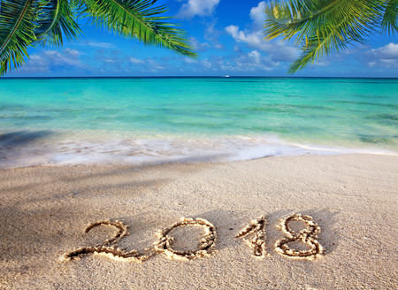 Nouvel an 2018 Inscription écrite et mer des Caraïbes avec palmier vert. Banque d'images - 89447520