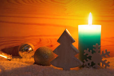 encendedores: Christmas silver decoration and Advent candle. Christmas card. Foto de archivo
