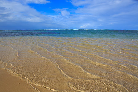 Beautiful caribbean sea and blue sky. Sommer ocean landscape as background.