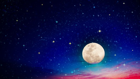 Full moon with stars at dark night sky .