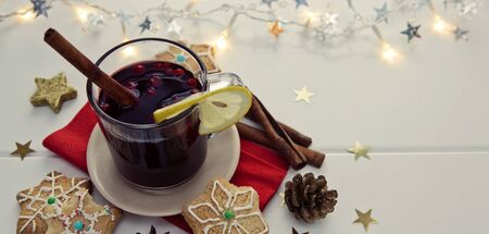Christmas Cookies with garland and mulled wine isolated.