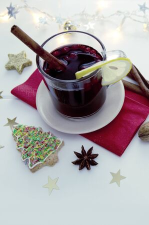 Christmas tree Cookie with garland and mulled wine isolated. Imagens