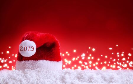 Happy new year 2019 Santa Hat and white snow.