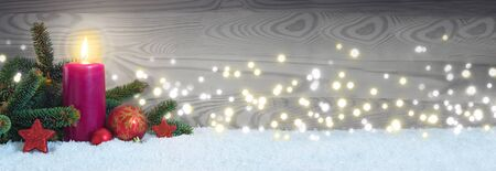 Christmas decoration and red Advent candle. Advent background. Stok Fotoğraf