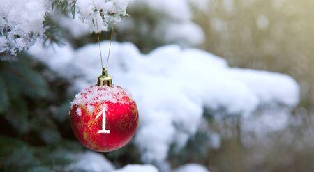 Christmas Ball hanging on a Fir Tree Branch. First Advent. Stok Fotoğraf