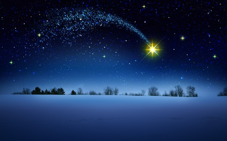 Christmas Star and blue abstract sky.Christmas background. 版權商用圖片 - 118758548