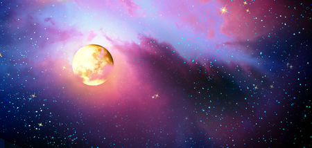 Full moon with stars at colorful night sky . Stock Photo