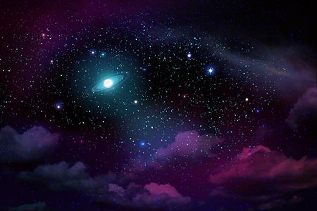 Dark night sky with many stars and full moon.