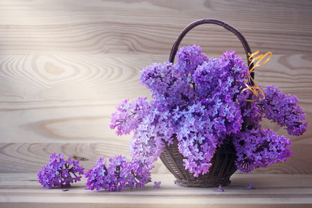 Bouquet of lilacs in a vintage basket. Beautiful violet Lilac flower still life Easter border design on wooden table.