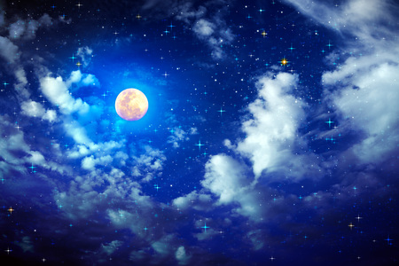 Stars in the night sky and clouds.Abstract space background. Full moon and star sky.