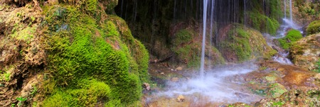 Beautiful waterfall in the German mountains.Waterfall and green moss in summer forest. 写真素材
