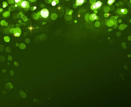Abstract colorful bokeh frame on green background. Stock Photo