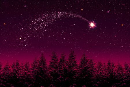 Christmas Star and red abstract sky.Christmas background.