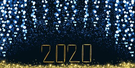 New Year 2020 blue bokeh background. Celebration lights background.