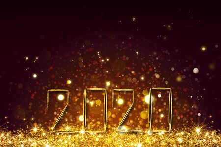 New Year 2020 golden bokeh background. Celebration lights background. Reklamní fotografie