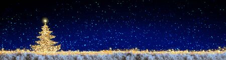 Golden Christmas tree and blue star sky. Christmas background.