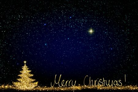 Christmas tree with lights isolated on star sky background.