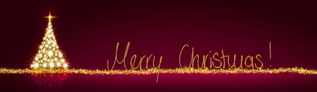 Golden Christmas tree isolated on red night background.