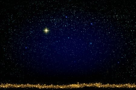 Merry Christmas background with colorful stars. Abstract sky background.