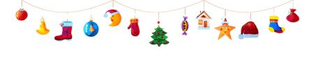 Christmas garland of colorful toys and icons isolated.