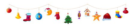 Christmas garland of colorful toys and icons isolated