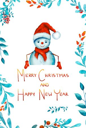 Watercolor of a snowman and Merry Cristmas background. Stock Photo