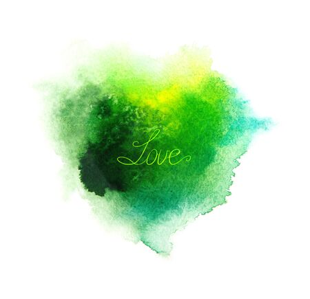 Abstract green watercolor heart background and love word. Stock fotó