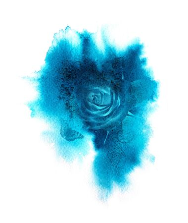 Blue watercolor texture background. Colorful handmade technique aquarelle.