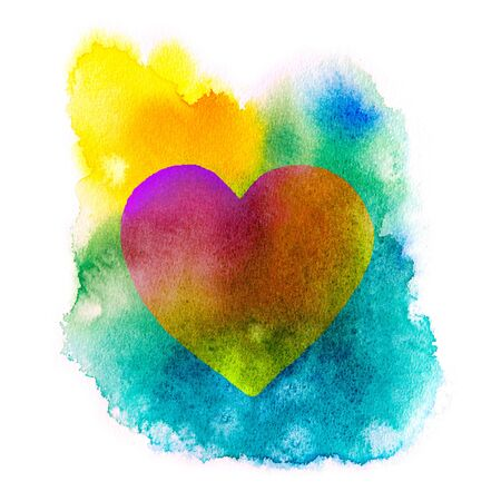 Colorful watercolor heart isolated .Valentines day background.
