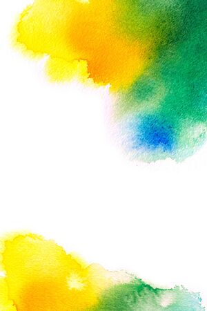 Abstract colorful watercolor macro texture background on white.