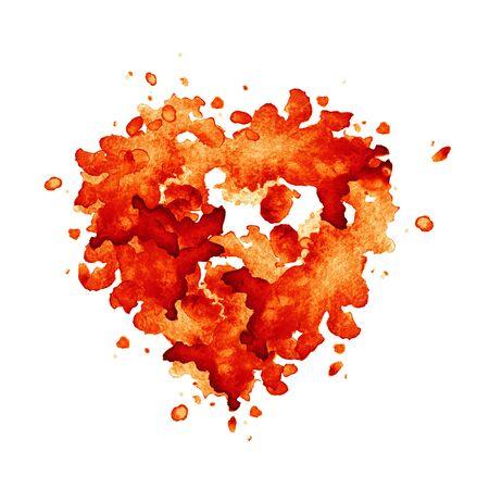 Fond de coeur aquarelle rouge. Technique à la main aquarelle. Fond de la Saint-Valentin.