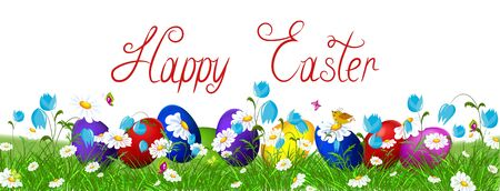 Colorful Easter eggs and spring wild flowers. Stock Photo