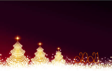 Three Christmas trees isolated on red sky background. Stock Photo