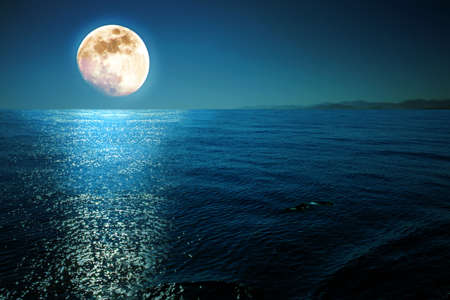 Full moon with reflections on a calm sea at midnight.