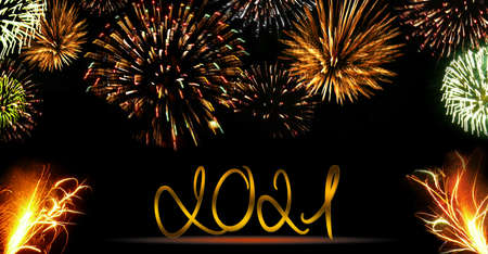 New Year 2021 background. Abstract colored firework background .