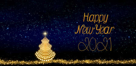 New Year 2021 background with Christmas tree isolated on stars sky background.