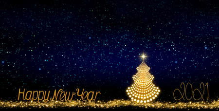 New Year background with Christmas tree isolated on stars sky background. Reklamní fotografie