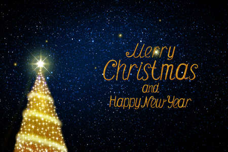 Christmas tree isolated on blue stars sky. New Year background.